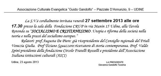 """Udine, 27 settembre: """"Socialismo e Cristianesimo"""" – Valdo Spini"""