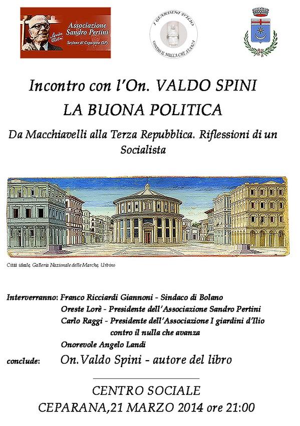 """Carrara e Bolano, 21 marzo - """"La buona politica"""""""