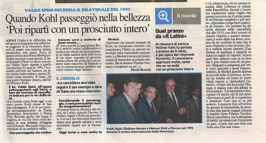 Valdo Spini sul vertice bilaterale del '92 con Kohl e Amato