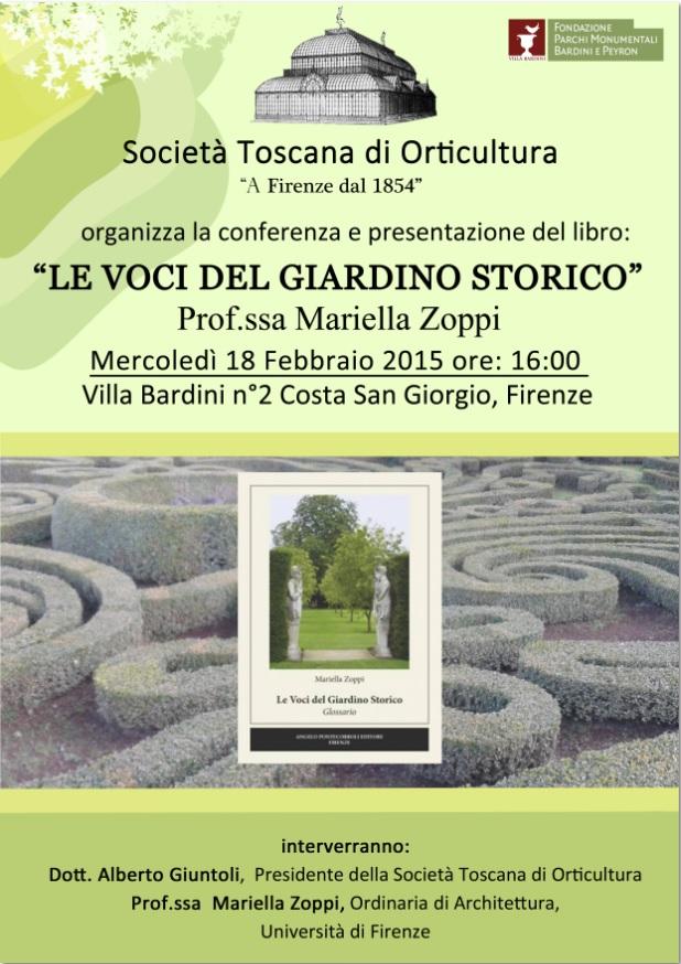 """Firenze, 18 febbraio - presentazione """"Le voci del giardino storico"""""""