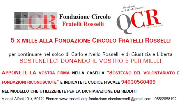 5 per mille alla Fondazione Circolo Fratelli Rosselli