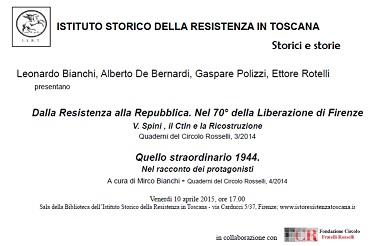 Firenze, 10 aprile - presentazione QCR sulla Resistenza