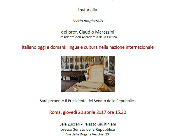 Lectio Magistralis di Claudio Marazzini, Presidente Accademia della Crusca
