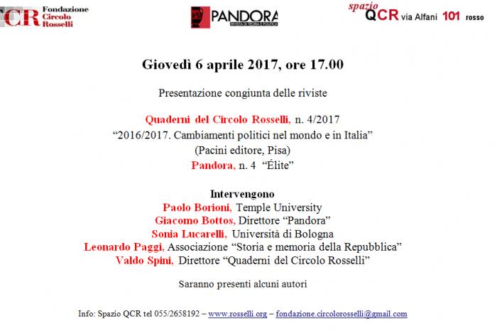 """I """"Quaderni del Circolo Rosselli"""" e """"Pandora"""": una presentazione congiunta"""