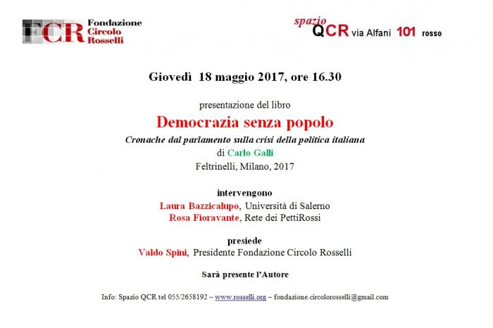 """""""Democrazia senza popolo"""": il 18 maggio parliamo del nuovo libro di Carlo Galli"""