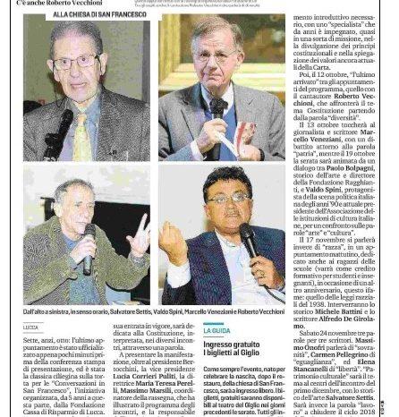 IL TIRRENO Lucca : La Costituzione in dieci parole alle Conversazioni del 2018