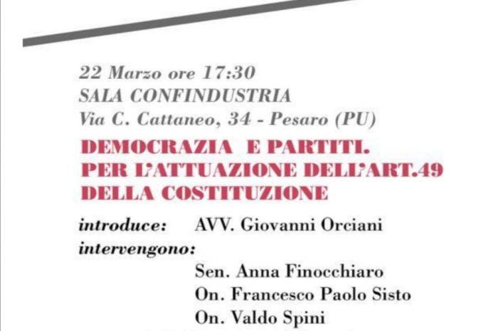 """Venerdì 22 marzo ore 17.30 – """"DEMOCRAZIA E PARTITI. PER L'ATTUAZIONE DELL'ART. 49 DELLA COSTITUZIONE"""""""