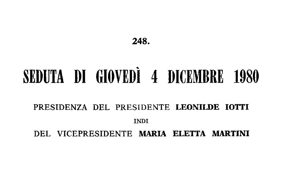 SEDUTA DI GIOVEDÌ 4 DICEMBRE 1980