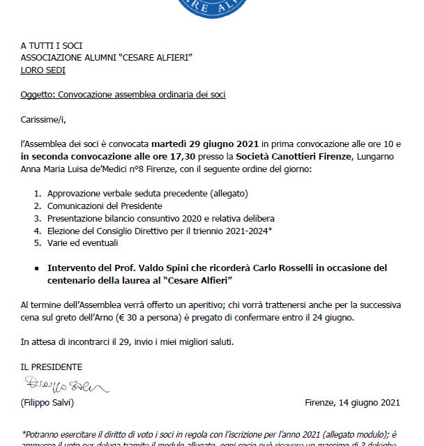 """29 giugno 2021 – Convocazione assemblea soci ASSOCIAZIONE ALUMNI """"CESARE ALFIERI"""""""